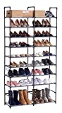 ORAF Shoe Rack 10 Tier Shoe Tower Organizer, 50 Pair Shoe Racks with Waterproof Dustproof Tight Connection, Free Standing Shoe Shelf in Closet Entryway Hallway, Non-Woven Fabric, Black