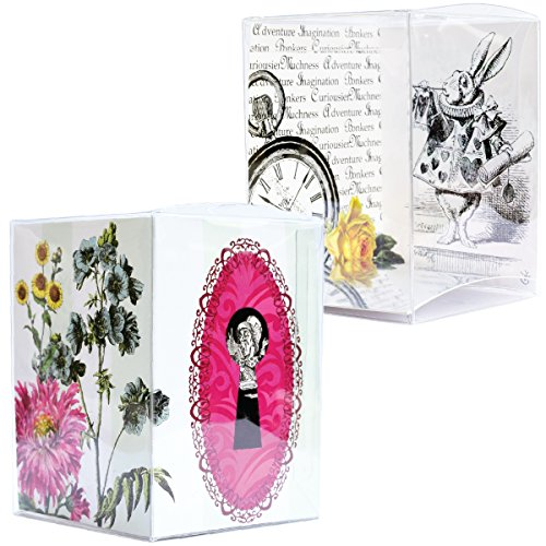 Alice in Wonderland Party Favor Boxes, 3x3 Clear Gift Boxes with Insert, Through the Looking Glass Theme Party Supplies, Confetti Couture, Set of 12