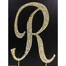 Crystal Rhinestone Covered Gold Monogram Wedding Cake Topper Letter R by other