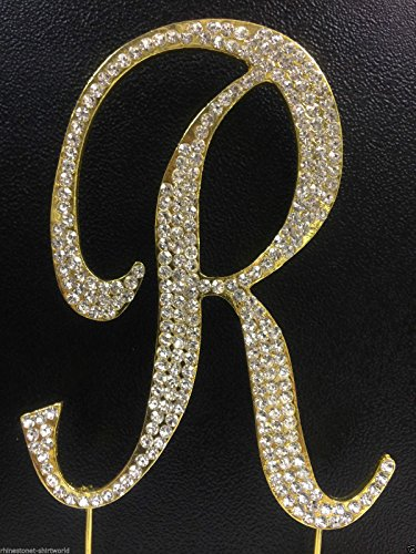 Crystal Rhinestone Covered Gold Monogram Wedding Cake Topper Letter R by other]()