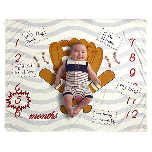 Baby Monthly Milestone Blanket Photo Prop for Newborn Growth Photography - Baseball Sports Month Blanket for Baby Boy Shower Gift (Baseball)