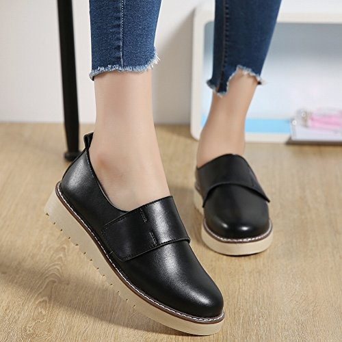 Zapatos Portátiles en Relieve Zapatos Antideslizantes de la Parte Inferior de la Universidad de Los Zapatos Suaves de la Mujer Zapatos Casuales Mágicos , negro , EUR35