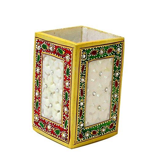 Sugandh Creation Marble Square Pen Stand With Meenakari Design 7X7X10 Multicolor