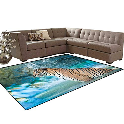 Tiger Bath Mats Carpet Feline Beast in Pond Searching for Prey Sumatra Indonesia Scenes Girls Rooms Kids Rooms Nursery Decor Mats 5'x8' Turquoise Light Brown Black