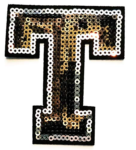 Black Sequins Letter T Patch Letter A-Z Embroidered Patch Jeans Bag Sewing Applique Badge Cloth Fabric Patch Letter ABC English (Black Sequins Letter T) ()