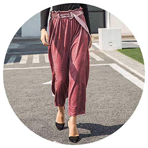 Winter Velvet Wide Leg Pleated Solid Pants Women Casual High Waist Long Pants,Pink,L