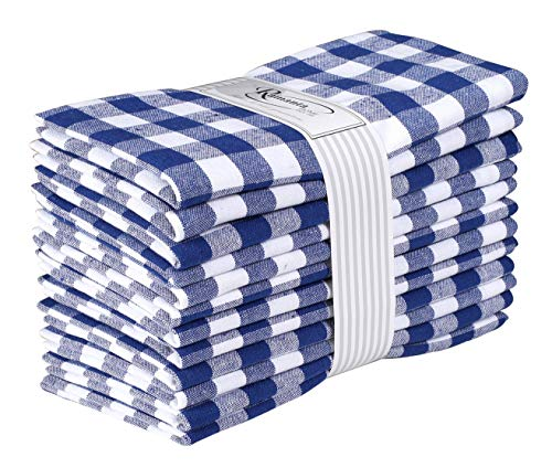 Cloth Napkin In Gingham Plaid Check Fabric-18x18 Navy, Wedding Napkins,Cocktails Napkins,Fabric Napkins,Cotton Napkins Mitered Corners & Generous Hem, Machine Washable Dinner Napkins Set of ()