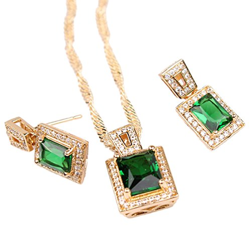18k Yellow Gold Plated Womens Pendant Necklace Earrings Set with Sqaure Green Zircon Stone