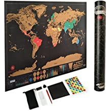 Scratch Off World Map by Amris Royal - with 7 amazing bonus accessories - Guitar Pick, Scratch Pen, Carry Pouch & More - Easy To Scratch Travel Tracker US States Map -Gold/Black 32.5 x 23.4 inches