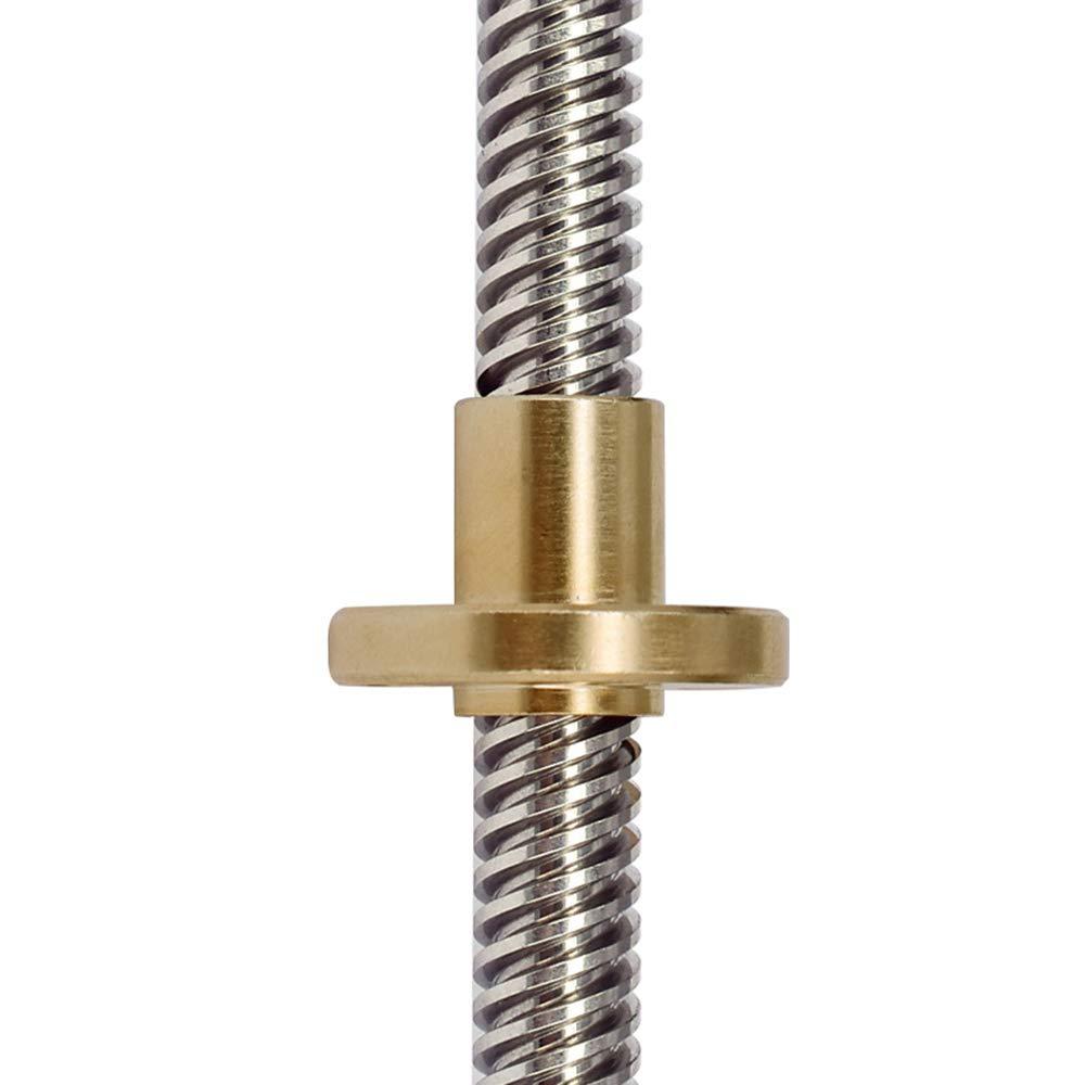 Aibecy Screw22mm T8 Longitud del tornillo gu/ía 100mm-950mm con tuerca de cobre Longitudes m/últiples Opcional para impresoras 3D