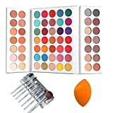 Beauty Glazed Eyeshadow Palette + Makeup Brushes Set + Sponge Blender Pigmented 63 Pop Colors Matte Shimmer Soft Cream Powder