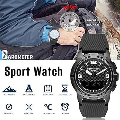 Reloj para hombre, multifunción, retroiluminación LED digital, acero inoxidable, pantalla doble, impermeable, cuarzo digital, reloj de pulsera para escalar, ...