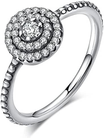 Twenty Plus Radiant elegance lady girls Round Shape Flower Finger Rings with Clear CZ