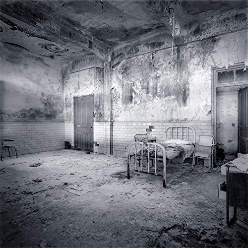 AOFOTO 10x10ft Old Decadent Hospital Room Background Creepy Halloween Backdrop Vintage Inpatient Ward Broken Furnitures Aged Sickroom Bed Dirty Wall Black-and-White Debris Photo Studio Props Vinyl -