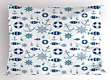 Lunarable Sea Animals Pillow Sham, Abstract Nautical Composition Fish Steering Wheel Anchor and Bubbles, Decorative Standard Size Printed Pillowcase, 26 X 20 inches, Navy Blue Aqua White