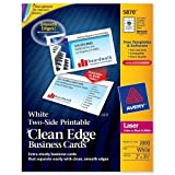 Wholesale CASE of 2 - Avery Clean Edge Laser Business Cards-Business Cards,F/Laser Printer,2000/BX,3-1/2''x2'',White