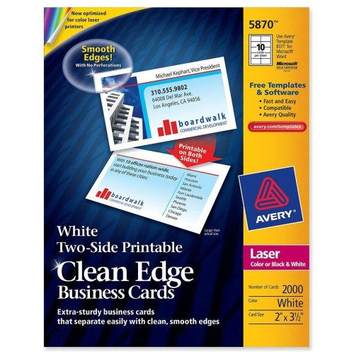 Avery Two-Side Printable Clean Edge Business Cards, Laser, 2 x 3 1/2, White, 2000/Box
