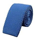Men Preppy Sky Blue Jacquard Silk Tie Summer Fashion Knit Designed Dress Necktie