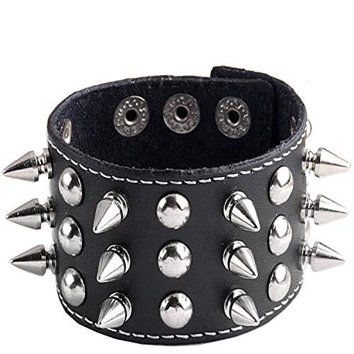 Y-blue Unisex Spike Studded Rock Punk Biker Wide Strap Leather Bracelet Gothic Rivet Buckle Wristband(Black ()