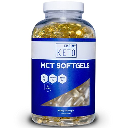 Kiss My Keto MCT Oil Capsules - Coconut Oil Softgel Pills, 300 Count, MCT Pills, Best MCT Oil Keto Ketogenic Diet. Caprylic Acid C8 + Capric Acid C10 Medium Chain Triglycerides Ketosis Diet Supplement