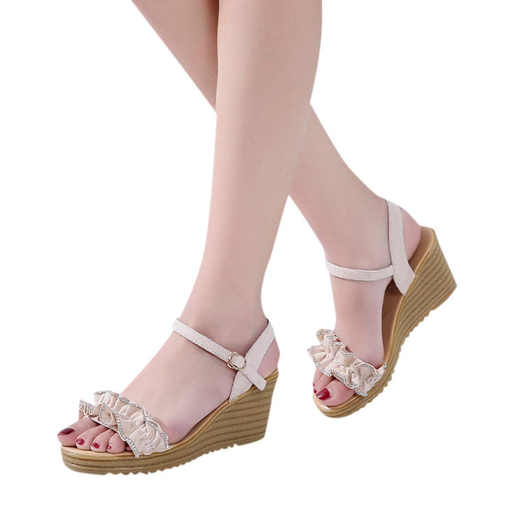 Women Summer Hot Wedge Sandals Round Toe Breathable Beach Casual Boho Peep Toe Buckle Strap Heeled Sandals (Beige, 7.5)