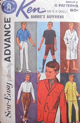 Barbie KEN Sew Easy Fashions PATTERNS by ADVANCE - Group E (1962 Mattel Toymakers) by Unknown