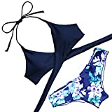 MOOSKINI Womens Padded Push-up Bikini Set Bathing Suits Two Pieces Swimsuit (XL, Navy)