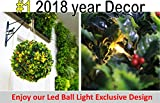 6 GENPAR Christmas DECORATIONS Artificial Boxwood Hedge Ball w/ LED LIGHT EXCLUSIVE DECOR 11.8'' diameter 2018 NEW ARRIVAL Natural TREE LEAF NO WATER Topiary Plant Indoor Outdoor Pendant Patio Home