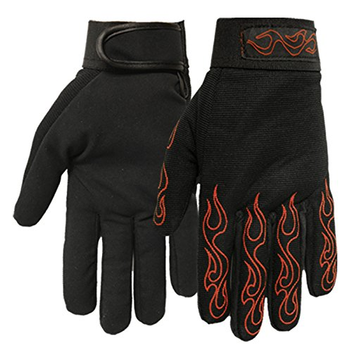 Hot Leathers Mechanic Gloves with Red Flames (Black, Large)