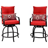 Kozyard Corona 360 Degree Swivel Two Bar Chairs (2 Chairs W/Red Seat and Back Cushions, 2 Nice Patterned Pillows included)