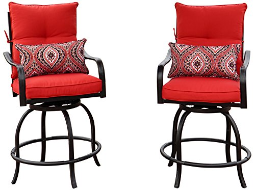 Kozyard Corona 360 Degree Swivel Two Bar Chairs (2 Chairs W/Red Seat and Back Cushions, 2 Nice Patterned Pillows (Swivel Bistro Bar)