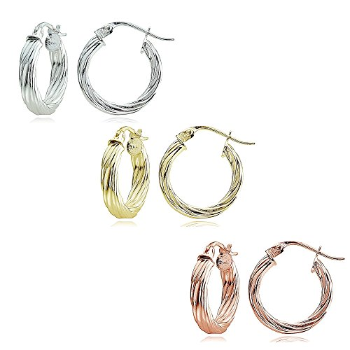 Sterling Silver Tri Color 2x15mm High Polished Twist Design Round Hoop Earrings, Set of 3