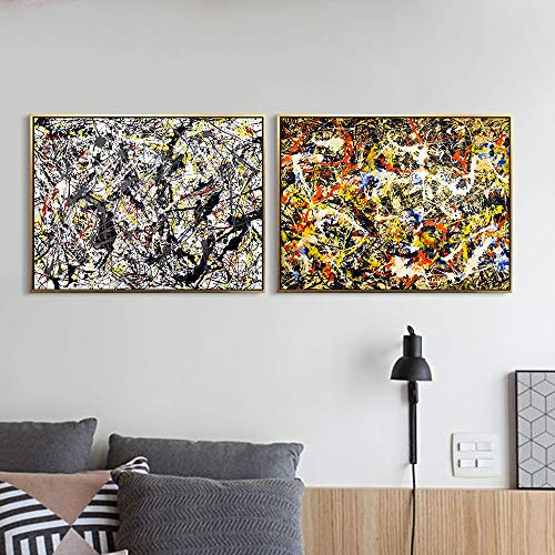 Framed Canvas Art Combo Painting 2 Pieces by Jackson Pollock Wall Art Series#5 Living Room Home Office Decorations(Black Golden Frame,24