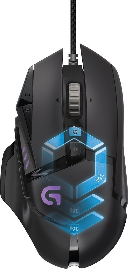 Logitech G502 Proteus Spectrum RGB Tunable Wired Gaming Mouse, 12,000 DPI, Adjustable Weights, 11 Programmable Buttons, Compatible with PC / Mac - Black