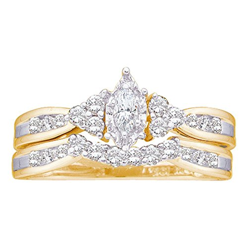 Sonia Jewels Size 10-14k Yellow Gold Marquise Diamond Bridal Wedding Engagement Ring Band Set (1/2 Cttw)