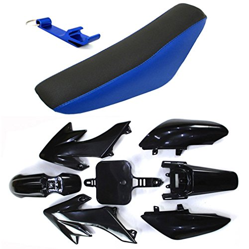 TC-Motor Fairing Body Kits+Tall Foam Seat For Honda CRF50 XR50 Pit Dirt Trail Bike 50cc 70cc 90cc 110cc 125cc 140cc 150cc 160cc SSR Atomik Thumpstar Apollo Kayo Stomp Piranha Pitster Pro (Black) (Plastic Body Fairing)