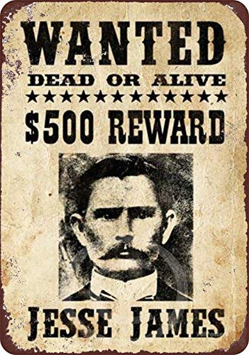 (HarrodxBOX Jesse James Original Wanted Poster Reproduction Metal Sign for Home Wall Art Decor Post Plaque for Women Men 12 x 18)