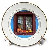3dRose Danita Delimont - Food - Romania, Dobricu Lapusului. Typical farm house, Window with apples. - 8 inch Porcelain Plate (cp_277876_1)