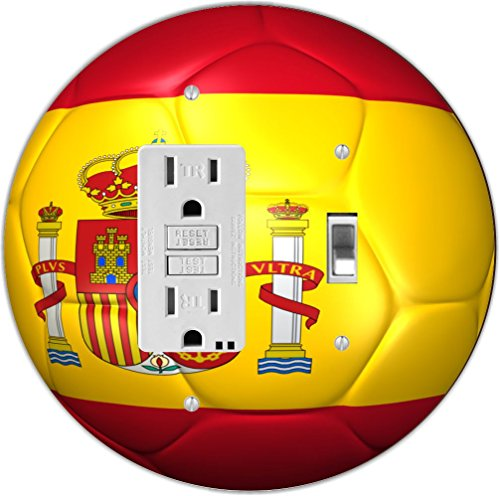 Rikki Knight RND-GFITOGGLE-67 Spain Team World Cup Flag Soccer Ball Football Round GFI Toggle Light Switch Plate by Rikki Knight