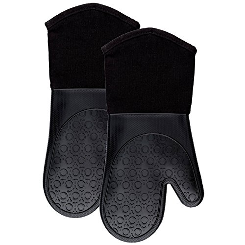 Silicone Oven Mitts with Quilted Cotton Lining - Professional Heat Resistant Potholder Kitchen Gloves - 1 Pair (Black) - ()