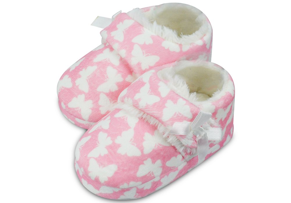 LA PLAGE Girl's Plush Fleece Warm Soft Cotton Slippers with Beautiful Butterfly Size 8 US Toddler Butterfly by LA PLAGE (Image #2)