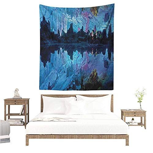 Natural Cave Tapestry Wall Hanging Illuminated Reed Flute Cistern with Artifical Crystal Palace Myst Cave Image Print Living Room Background Decorative Painting 40W x 60L INCH Blue