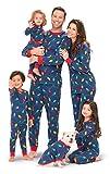 PajamaGram Matching Christmas Pajamas for Family - Blue, Kids, 12