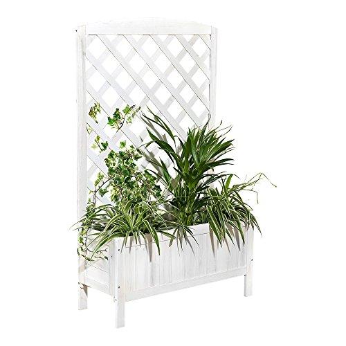 Holz Blumenkasten Weiß Rankhilfe Rankkasten Rankgitter Blumenständer Blumenkübel