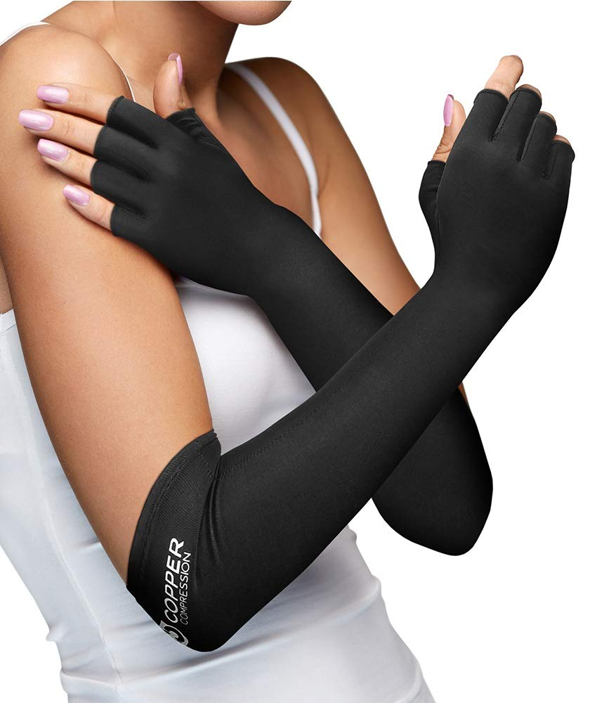Copper Compression Long Arthritis Gloves - Guaranteed Highest Copper Content. Best Copper Infused Extra Long Fit Glove for Women + Men. Carpal Tunnel, Computer Typing, Support Hands, Wrist. 1 Pair