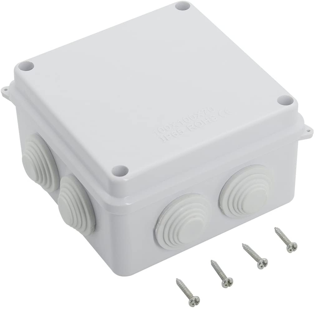 LeMotech ABS Plastic Dustproof Waterproof IP65 Junction Box Universal Electrical Project Enclosure White 3.9 x 3.9 x 2.8 inch (100 x 100 x 70 mm) - - Amazon.com