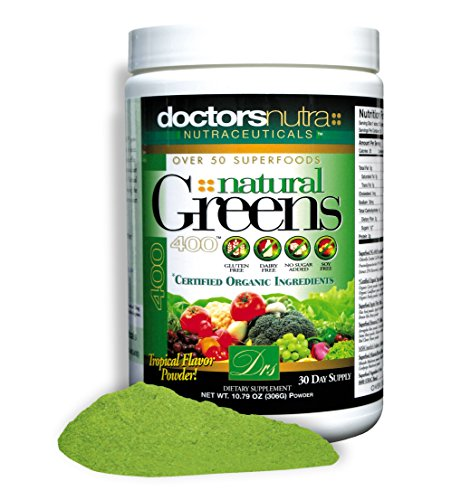 Natural Greens Juice Drink Super Food, Large 10.79 oz. (306g) with Certified Organic Ingredients. 50+ First Quality Gluten Free Vegetarian Plant-Based Superfoods + Probiotics, Amazing Tropical Flavor