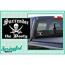 """SURRENDER THE BOOTY JOLLY ROGER PIRATE FLAG 5"""" Vinyl Decal Car Truck Window Sticker"""