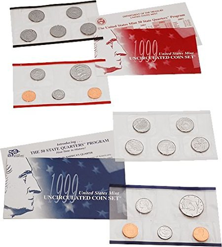 1999 US Mint Uncirculated 18-Coin Set P&D With Statehood Quarters in Original Government Packaging Brilliant Uncirculated Penny Brilliant Uncirculated US Mint