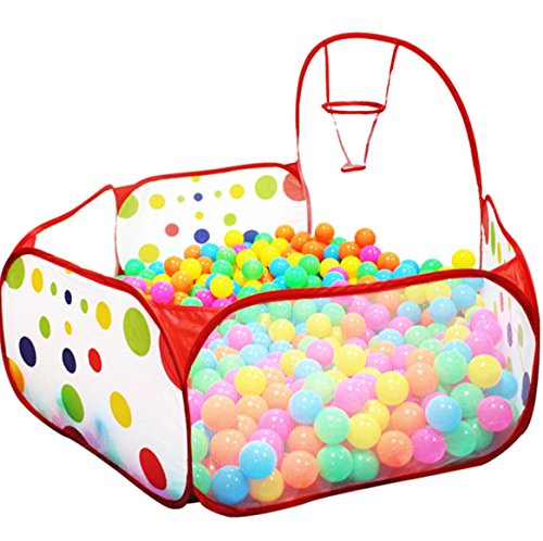 Pirate Ship Bounce House - Kids Ball Pit Ball Tent Toddler Ball Pit with Basketball Hoop and Storage Bag Sea Ball Pool for Fun Healthy Toddlers Kids Playpen Play Time with Indoor Playhouse | 4 Ft / 120CM |